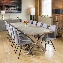 Saturn Solid Oak Grey Dining Table Extends 2.7m +10 Grey Fabric Chairs