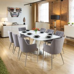 Dining Set White Glass Top Extending Table + 8 Ice Grey Carver Chairs