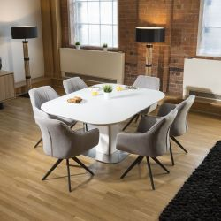 Dining Set White Glass Square Table Extends +6 Light Grey Carver Chair