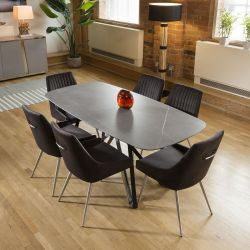 Ceramic Grey Table Dining Set 1.78m + 6 Charcoal Velvet Chairs 1966