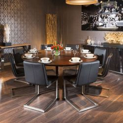 Luxury Large 1.8m Round Walnut Dining Table +8 Black Low Backed Chairs
