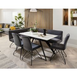 Ceramic Corner Dining Table Grey Bench Set With 3 Chairs White Marble Effect Right