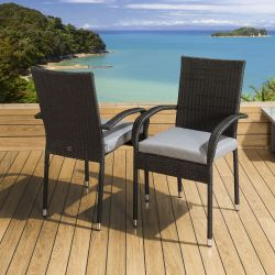 2 x Stackable Garden Armed Dining Chairs Black Rattan Grey Cushions