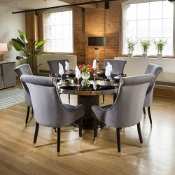 Round Smoked Oak Dining Table Set With 6 Grey Roll Top Chairs
