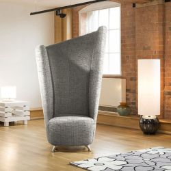 Modern Massive 6ft High Curved Grey Fabric Armchair / Tub Chair/Chairs