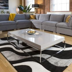 Stainless Steel Framed 1500 x 800 Coffee Table Grey Gloss Wood Top