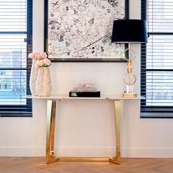 Hall Console Table Faux White Marble Gold Steel Frame 1500mm