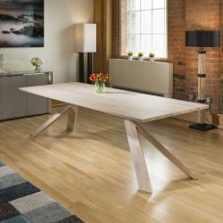 Huge Mercury Solid White Oiled Oak Dining Table 2600x1000mm XLeg Stock