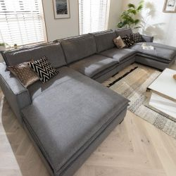 Large Grey 4 Seater Sofa - Double Chaise End 410x200cm In Stock