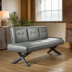 Modern Comfy Faux Leather Straight Dining Bench Light Grey 1800mm