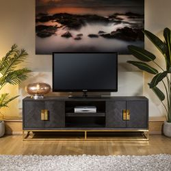 Modern Luxury Large Black Oak and Gold TV Stand / Cabinet 185cm