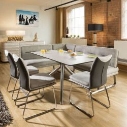 Luxury 8 seater Grey Booth Right Hand Corner L Bench Chair Dining Set2