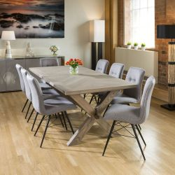 Saturn Solid Oak Grey Dining Table 2200x1000mm + 8 Grey Fabric Chairs