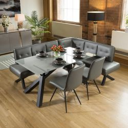 Grey Glass Dining Table Set + PU Corner Bench & 2 Chairs
