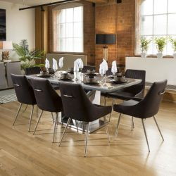 Ceramic 1800 Grey Dining Table Set + 8 Charcoal Velvet Chairs