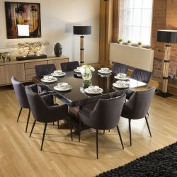 Large Square Walnut Dining Table Black Glass +8 Charcoal Carver Chairs