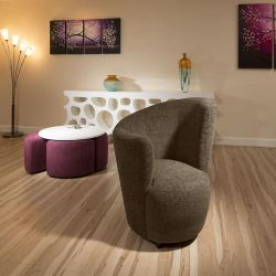 Modern Large Curved Brown Fabric Armchair / Armchairs/Tub Chair/Chairs