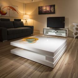 Superb Extra Large Modern Square White Gloss 1.2mt Coffee Table 397E