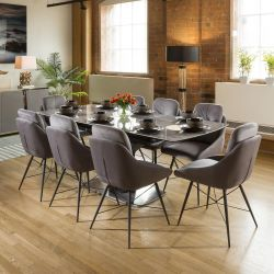 Grey Ceramic Extending Dining Table + 8 Grey Comfy Chairs 1965