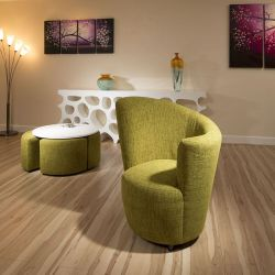 Modern Large Curved Green Fabric Armchair/Armchairs/Tub Chair/Chairs