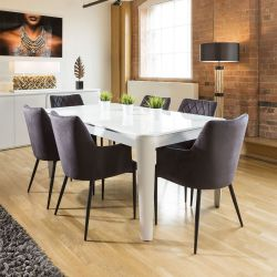 Luxury Extending Dining Set Glass Top Table 6 Grey Carver Fabric Chairs