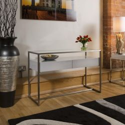 Console / Hall Table Glass top Grey Gloss Drawer Brushed Steel Frame