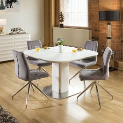 Stunning Dining Set White Glass Square Extending Table +4 Grey 7428