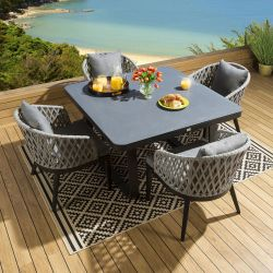 Outdoor Square Ceramic Dining Set Table 4 Rope Chairs Black Grey Fabric
