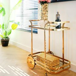 Quatropi Drinks Trolley Dessert Cart Gold Stainless Dining Lounge Dining Room