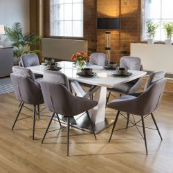 Stunning 6 Seater Dining Set White Table With 6 Medium Grey Chairs