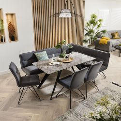 Ceramic Corner Dining Table Grey Bench Set With 3 Chairs Grey Marble Effect Left