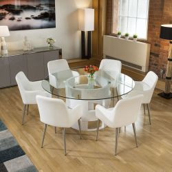 Round 1600mm Glass Top White Oak Dining Table + 6 White Carver Chairs