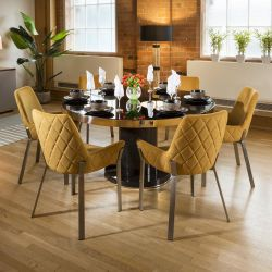 Round Smoked Oak Dining Table Set 6 Mustard & Stainless Chairs