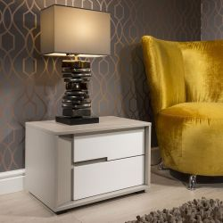 Quatropi Bedside Table / Nightstand / Lamp Table White Grey 2 Drawer