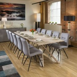 Mercury Solid Oak Huge Dining Table 2600x1000mm +10 Grey Fabric Chairs