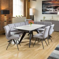 Dining Table Concrete Melamine Extends +3 Grey Chairs & Corner Bench L