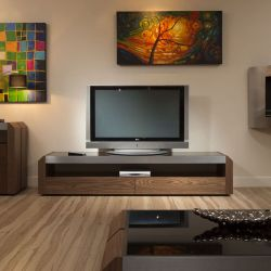 TV / Television Cabinet Unit Walnut / Stainless with Black Glass Top