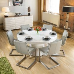 Large White Round 1.4 Dining Table +6 Ice Grey Low Cantilever Chairs